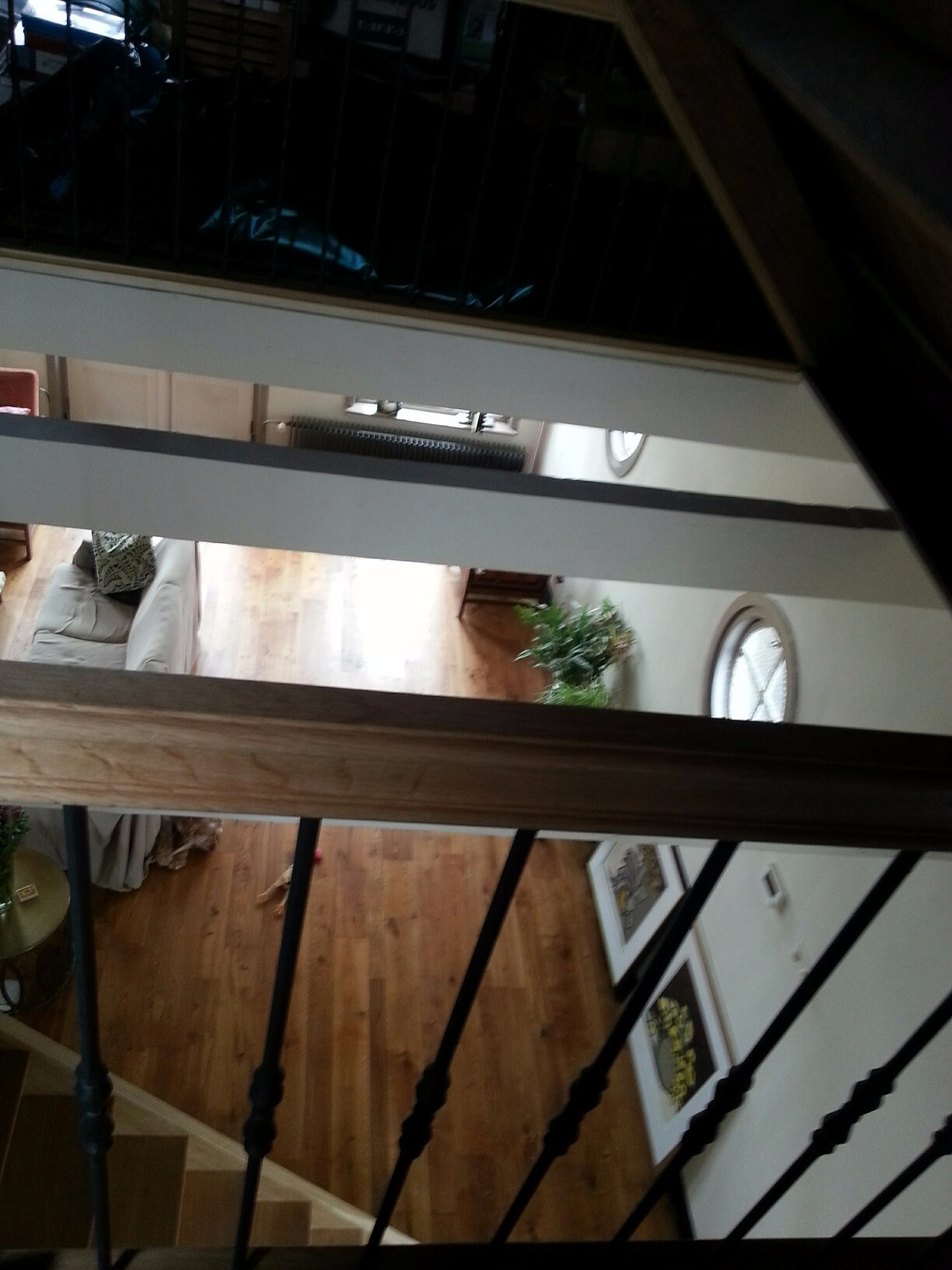 Eiken trap met smeedijzeren spijlen - Foto 5