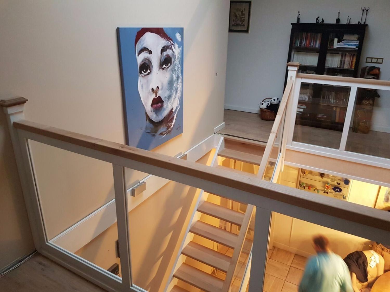 Hardhouten eiken trap glazen balustrade - Foto 1
