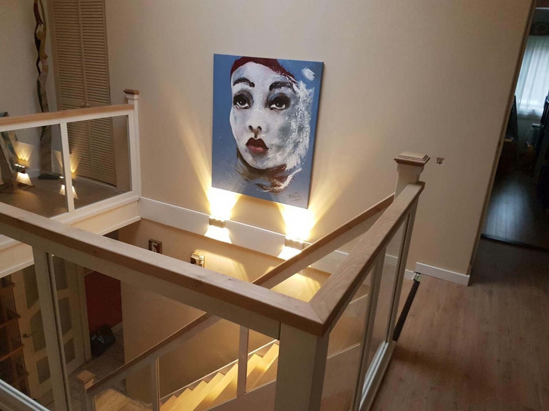 Hardhouten eiken trap glazen balustrade - Foto 3
