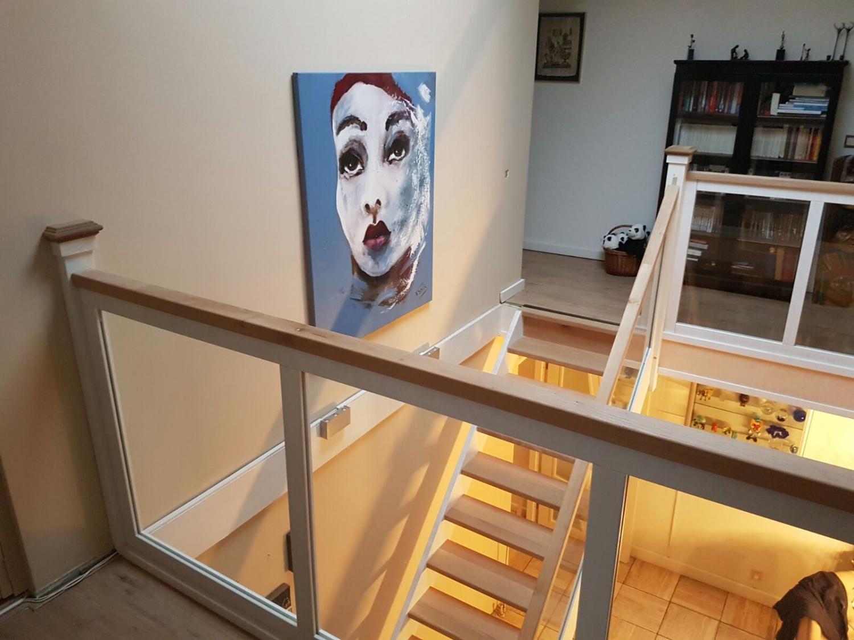 Hardhouten eiken trap glazen balustrade - Foto 7