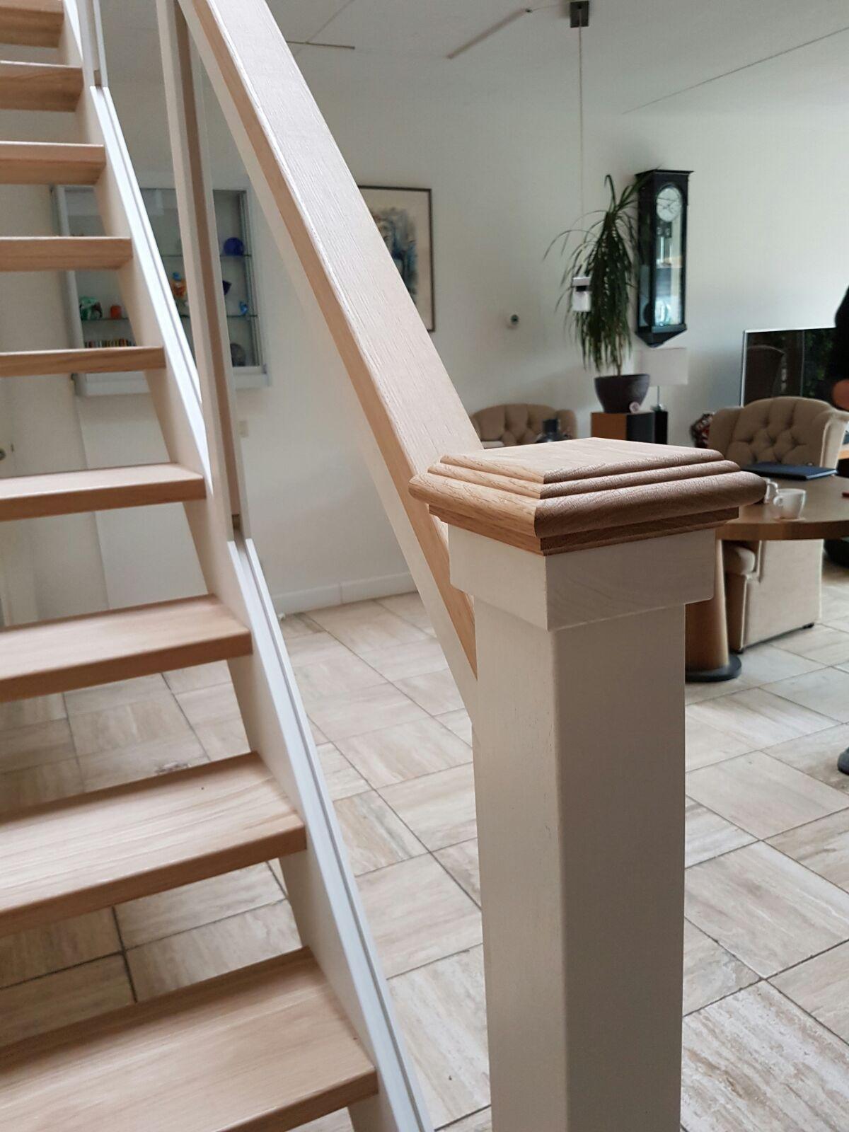 Hardhouten eiken trap glazen balustrade - Foto 18
